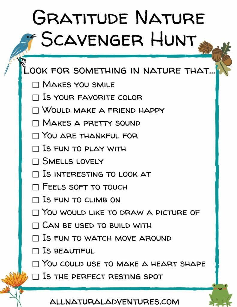 Gratitude Nature Scavenger Hunt - Free Printables