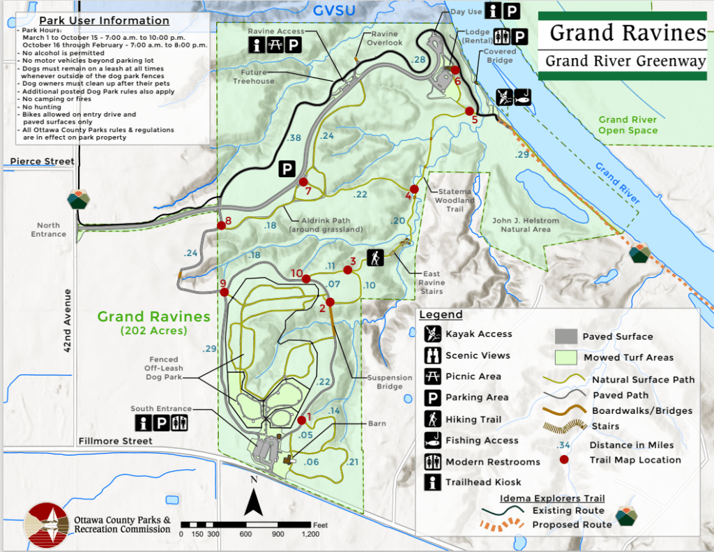 Grand Ravines Park Trail Map - Ottawa County, West Michigan